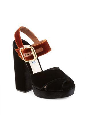 Prada Bicolor Velvet Block-heel Sandals In Black-tabacco