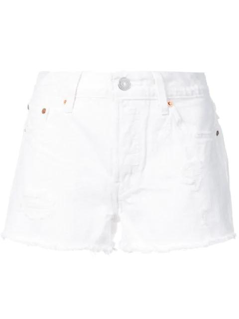 Levi's Levis White Distressed 501 Denim Shorts
