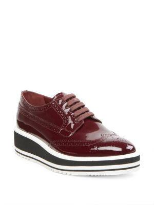 Prada Patent Leather Lace-up Creeper, Garnet (granato)