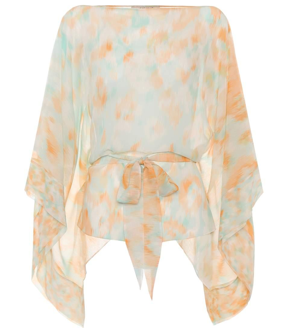 Roberto Cavalli Printed Silk Top In Multicoloured