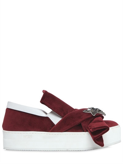 N°21 40mm Bow Embellished Velvet Sneakers In Bordeaux