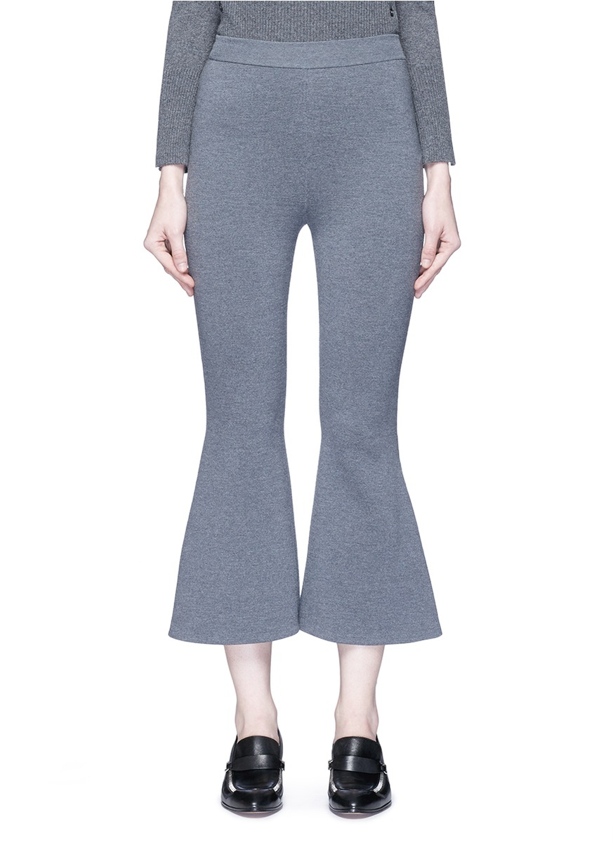 Stella Mccartney 'strong Lines' Knit Cropped Flared Pants In Grey