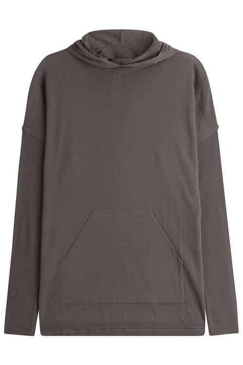Rick Owens Taupe Wool Hooded Poncho In Grey