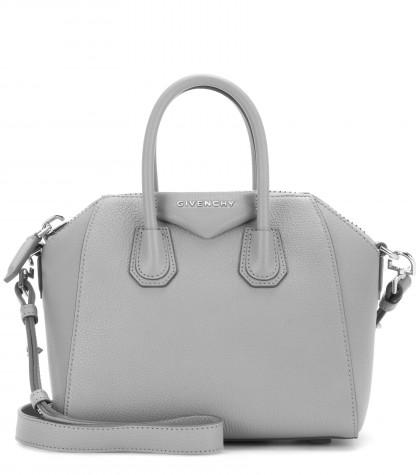 Givenchy Antigona Mini Leather Shoulder Bag In Pearl Grey