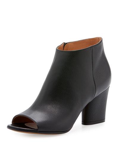 Maison Margiela Narrow Peep-toe Leather Bootie In Nude