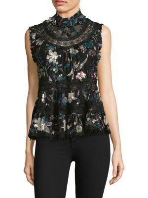 ff9614dfe3f4 Kate Spade Botanical Burnout Chiffon Top In Black | ModeSens