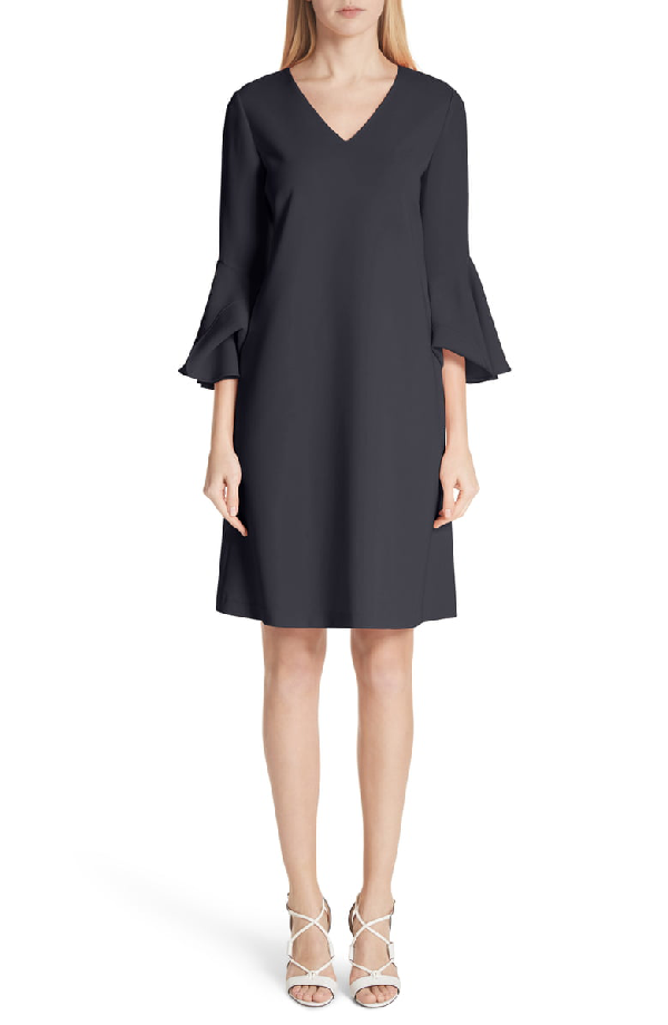 Lafayette 148 Holly Ruffle-cuff Crepe Shift Dress In Ink