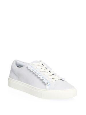 c7d8b9687 Tory Burch Suede Ruffle Low-Top Sneakers In Blue Silk Suede