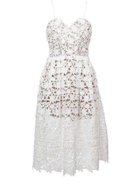 Self-portrait 'azaelea' Floral Lace Spaghetti Strap Dress In White