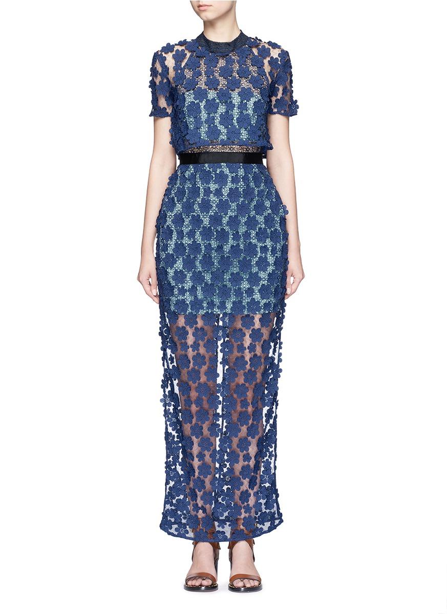 c1042ba6203 Self-Portrait Floral Embroidered Popover Maxi Dress