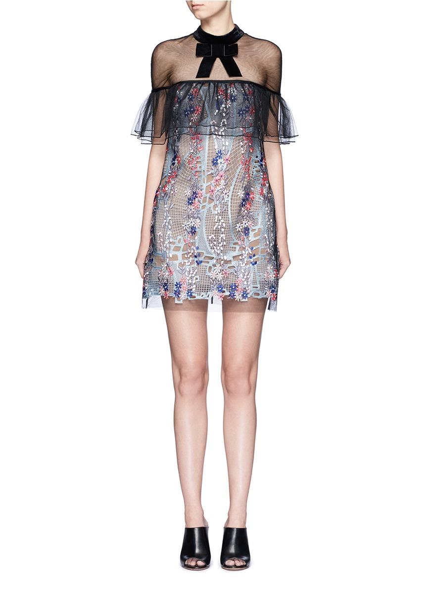 2178f651a1cd Self-Portrait Floral Vine Guipure Lace Mini Dress, Blue/Pink/Black ...