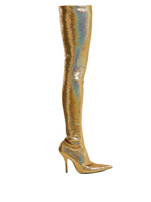 b0bd20d226c Balenciaga Knife Sequinned Over-The-Knee Boots In Metallic-Gold ...