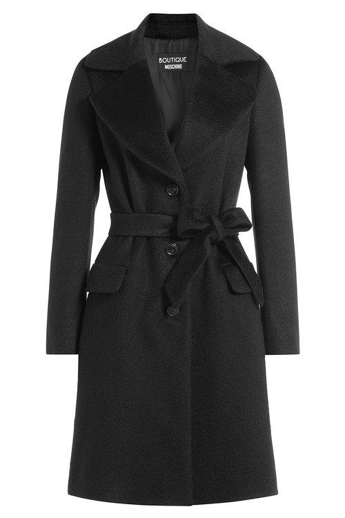Boutique Moschino Wool-mohair Belted Coat In Black