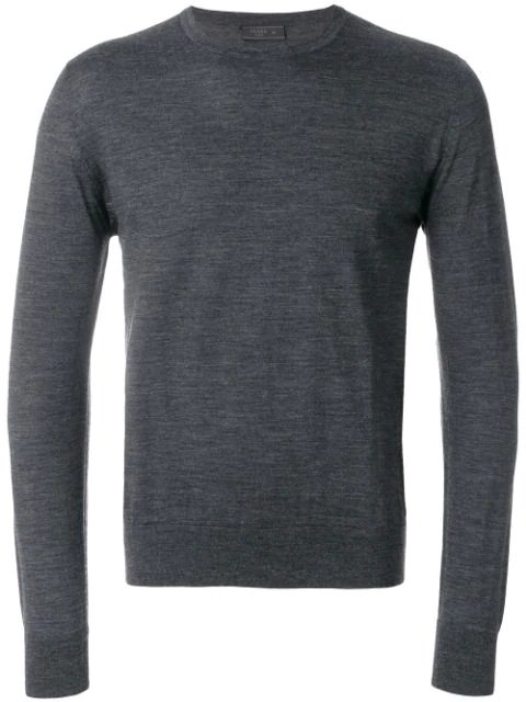 Prada Crewneck Cashmere Knit Sweater In Grey