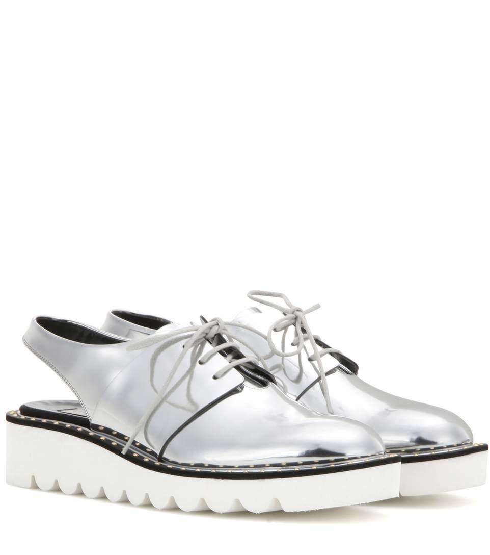 3b04b21c0d9 Stella Mccartney Odette Slingback Derby Shoes In Silver