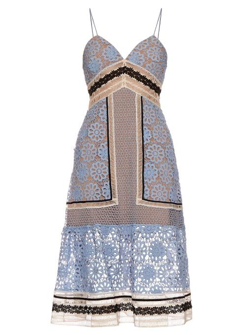 32236f0698d51 Self-Portrait Guipure Lace Midi Dress, Blue/Black | ModeSens