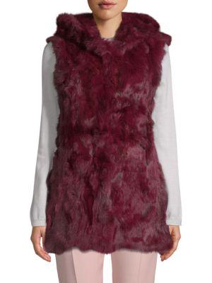 Adrienne Landau Hooded Rabbit Fur Vest In Cranberry