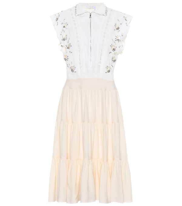 ChloÉ Embellished Broderie Anglaise Linen And Cady Midi Dress In White