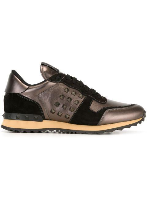 f0d8ec8362000 Valentino Rockrunner Leather & Suede Sneakers In Dk Rutenio/Nero|Grigio
