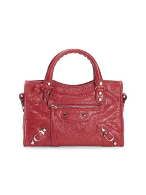 Balenciaga Mini Arena City Leather Satchel - Red In Rouge/ Noir