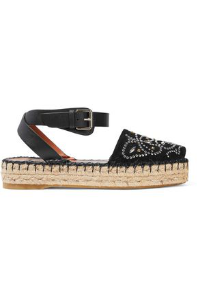 Valentino Studded Butterfly Suede Espadrille In Black