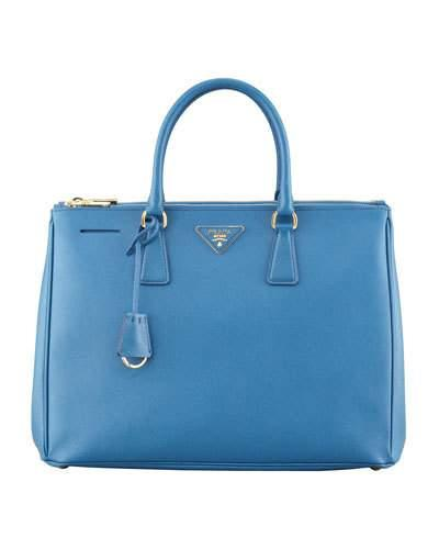 Prada Saffiano Small Double-Zip Executive Tote Bag, Medium Blue (Azzuro) In Azzuro Med Blue