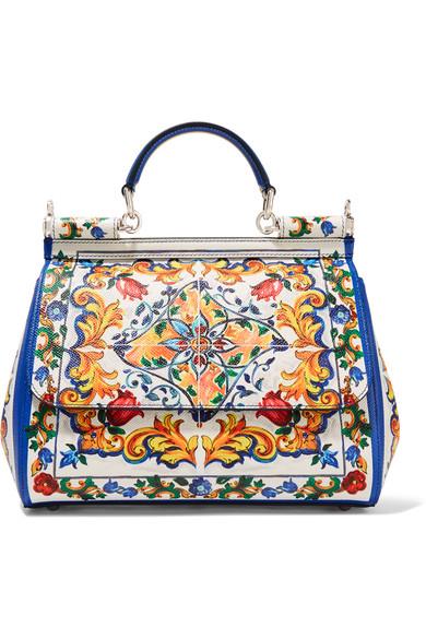 e1511180e92f Dolce   Gabbana Miss Sicily Medium Printed Leather Shoulder Bag In Maiolica  Oreameetale