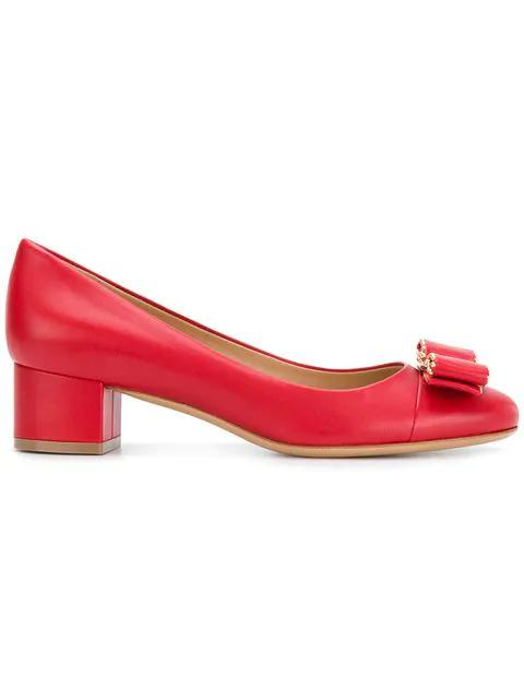 Salvatore Ferragamo Elinda Low-Heel Leather Pumps In Red