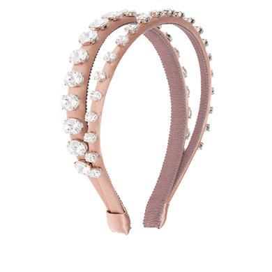 a83f0728e8f4 Miu Miu Satin Hairband With Crystals In Nude Beige