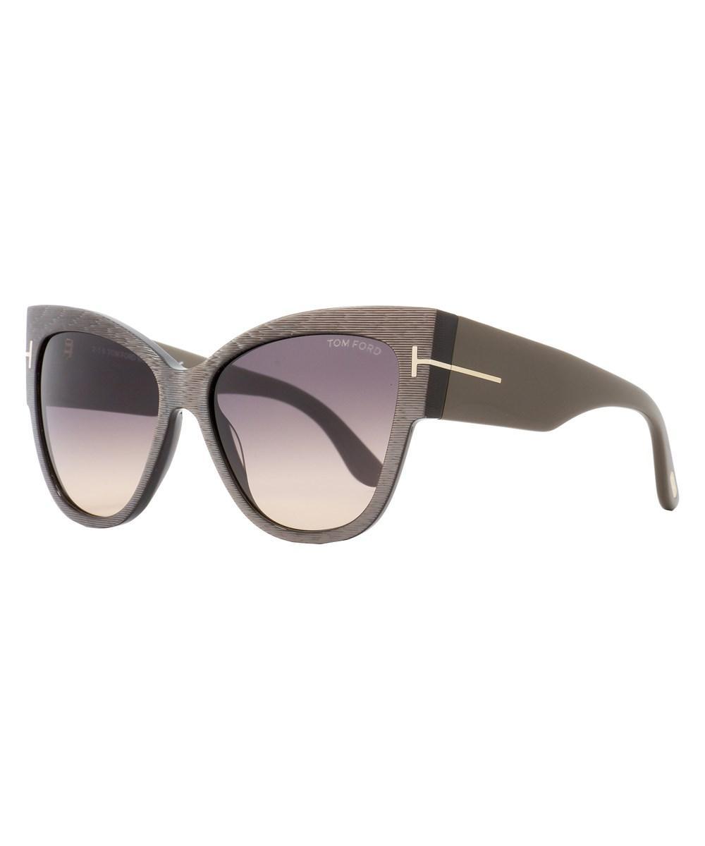 0f65bf4124341 Tom Ford Cateye Sunglasses Tf371 Anoushka 38B Iridescent Chalkstripe Dove  Gray Ft0371