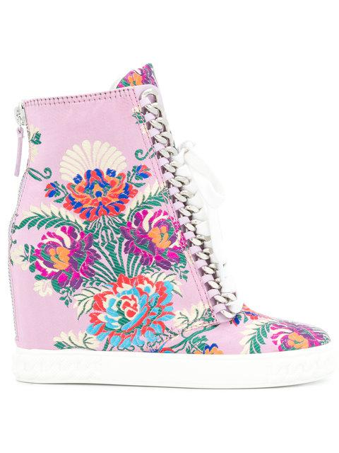 Casadei Floral Embroidered Wedge Sneakers