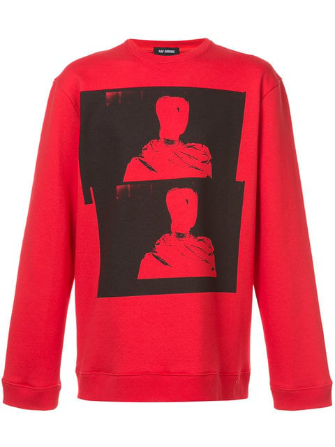 Raf Simons Long Sleeved Photographic Pullover In Red