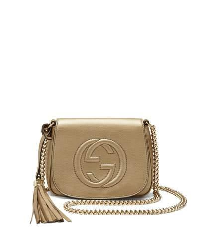 9218aa9d8 Gucci Soho Metallic Leather Chain Crossbody Bag, Champagne | ModeSens