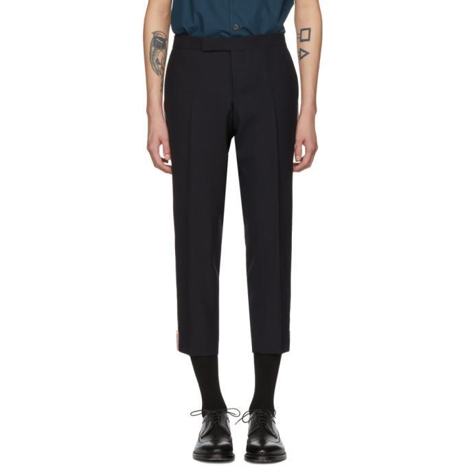 Thom Browne Navy Low-Rise Skinny Side Tab Trousers In 415 Navy