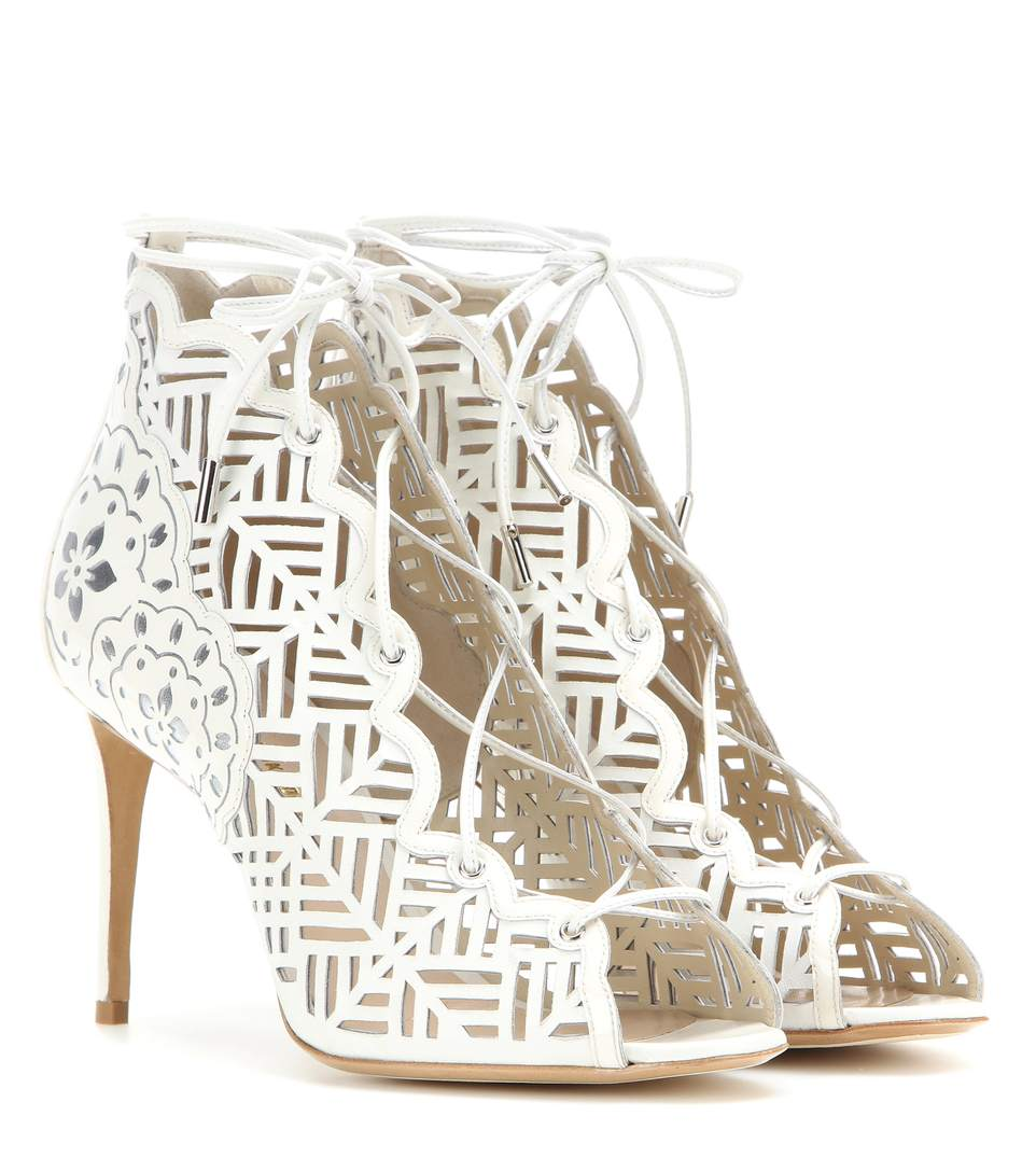 Nicholas Kirkwood Laser-Cut Leather Sandals In White