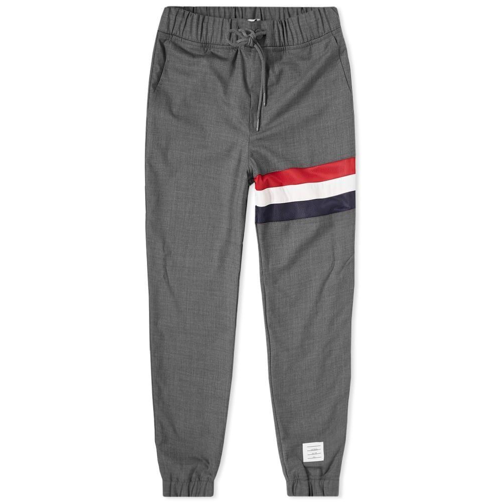 Thom Browne Stripe Wool Sweat Pant In Grey