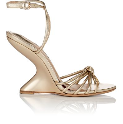 Salvatore Ferragamo Sculpted-Heel Leather Ankle-Strap Sandals - Gold