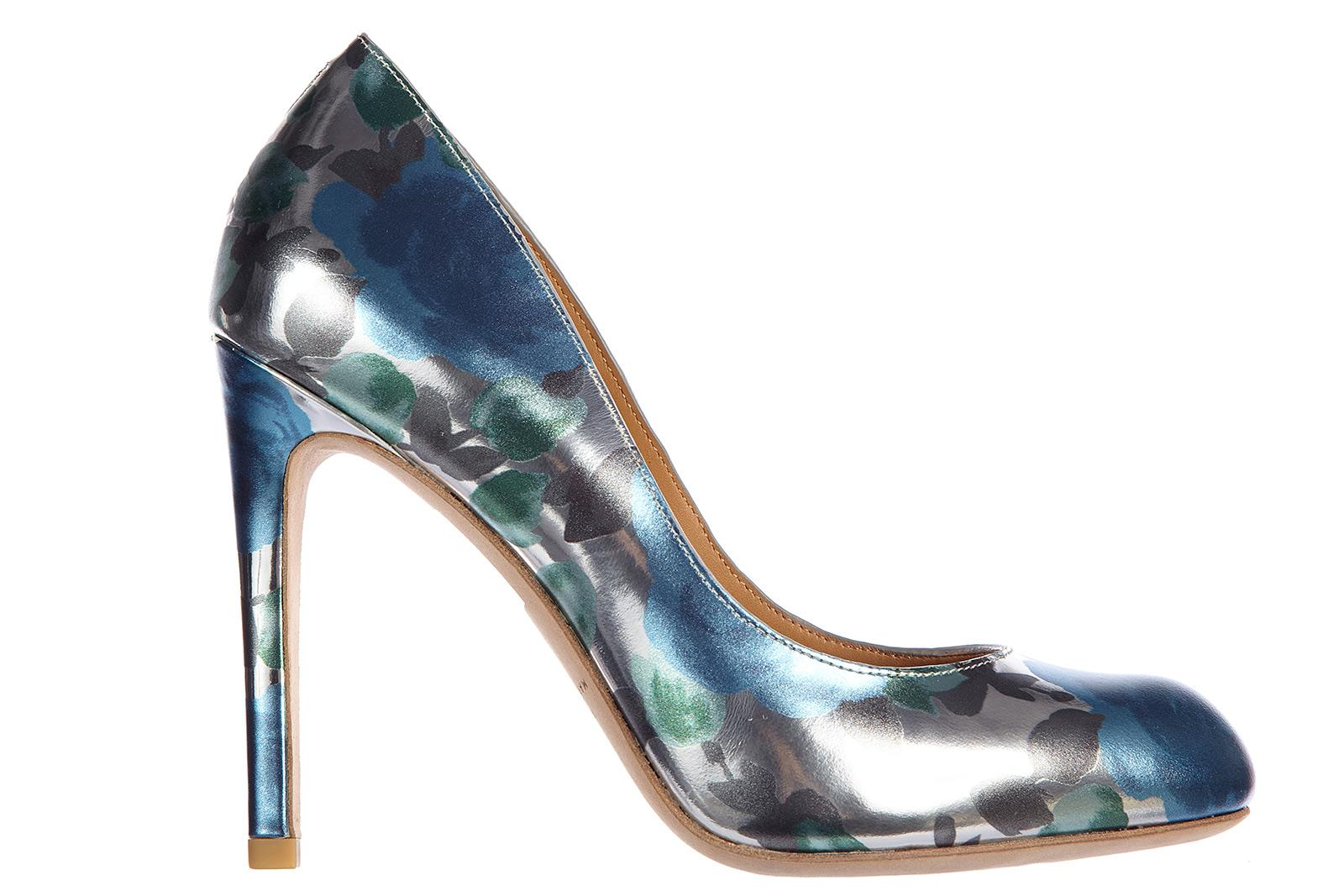 Marc By Marc Jacobs Women's Leather Pumps Court Shoes High Heel Sky Multi Flower In Silver