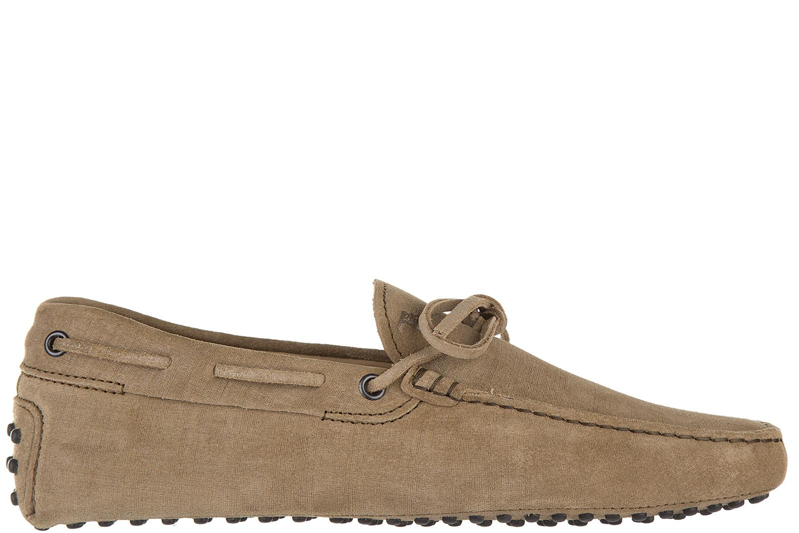 Tod's Men's Leather Loafers Moccasins  Laccetto Gommino 122 In Beige