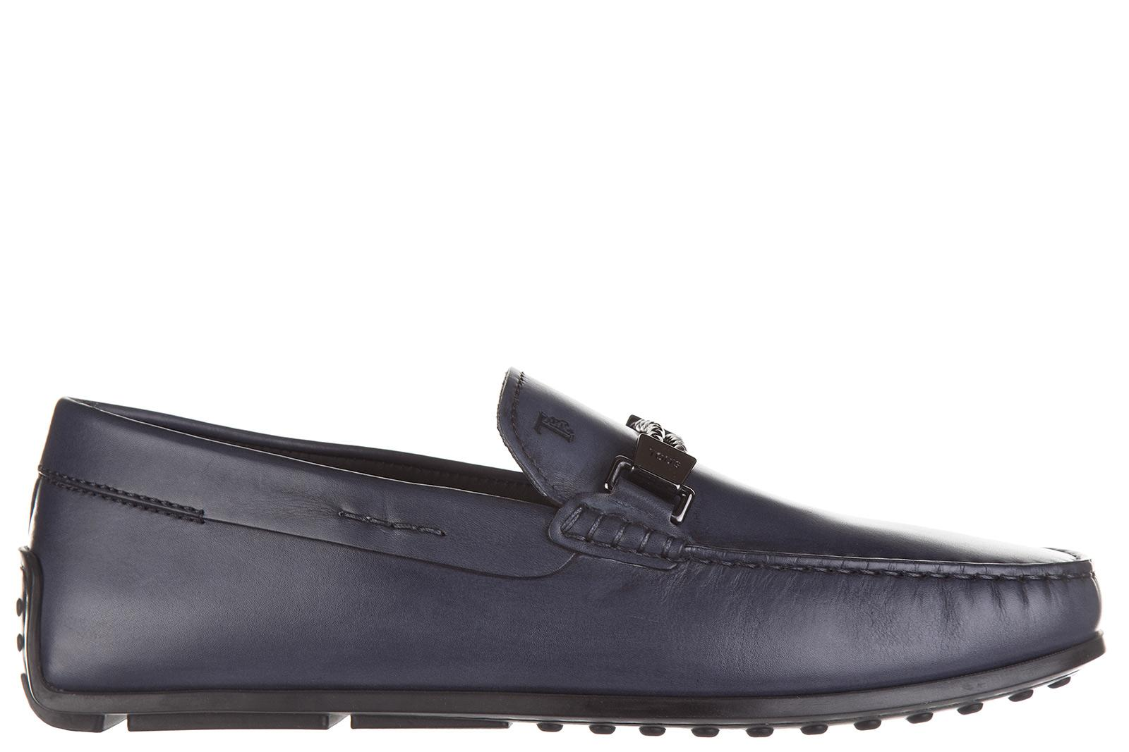 Tod's Men's Leather Loafers Moccasins In Blue