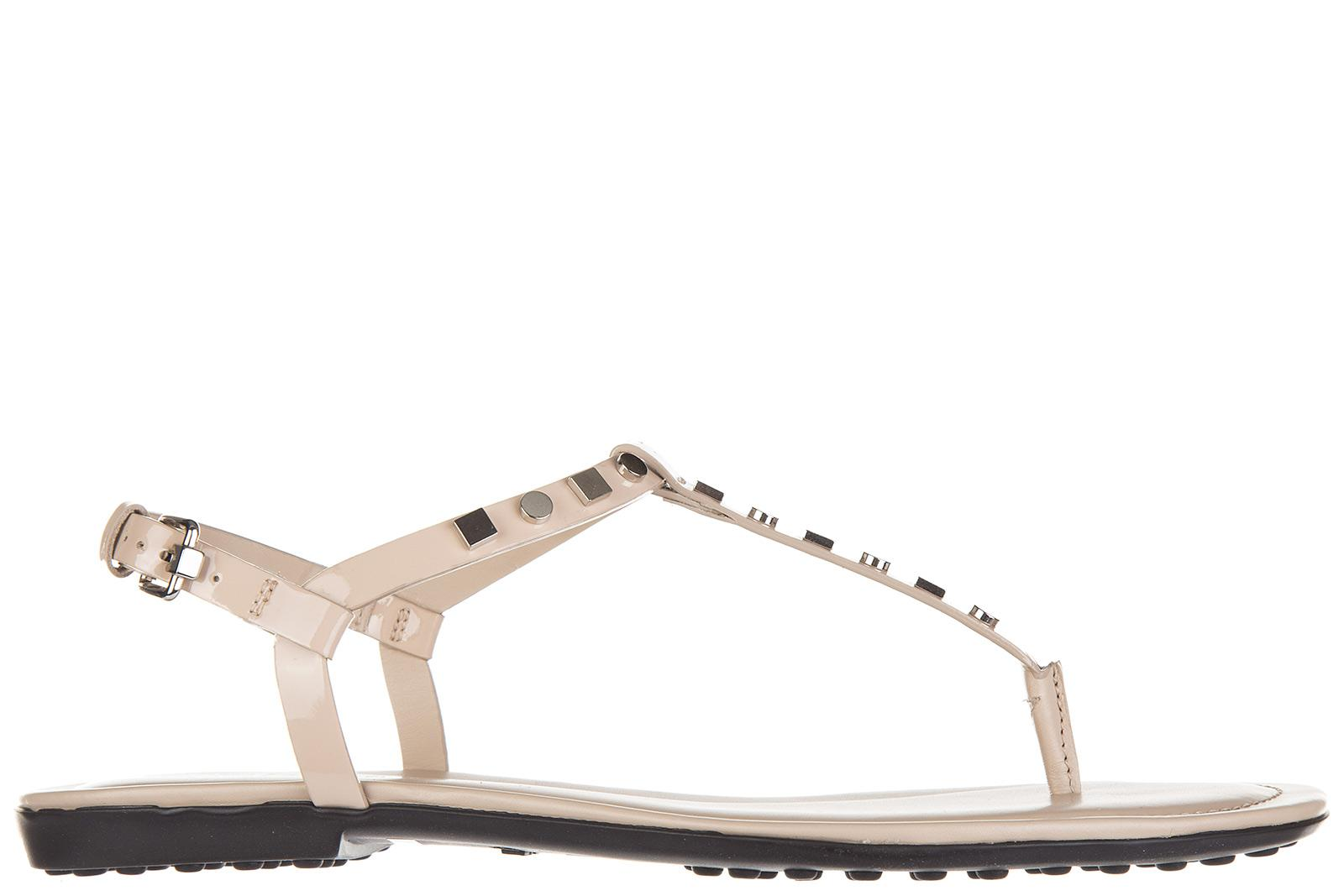 buy online 3a614 ac81e Damen Leder Flip Flops Zehentrenner Sandalen in Beige