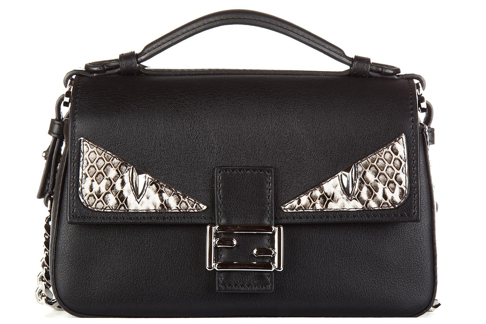 Schultertasche Leder Damen Tasche Umhängetasche Bag Occhi Micro Baguette Occhi Elaphe In Black