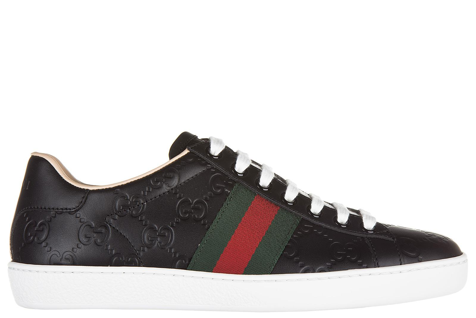 8e29833a5dd Gucci Women S Shoes Leather Trainers Sneakers Signature In Black ...