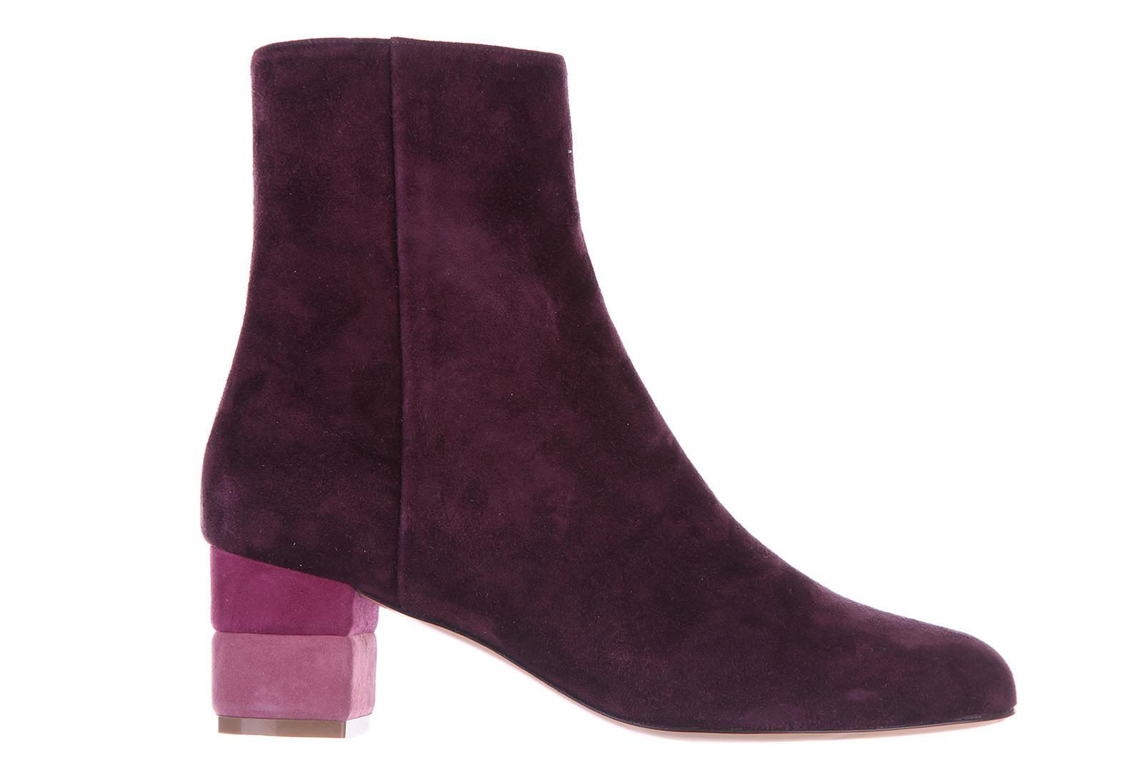 Salvatore Ferragamo Women's Suede Ankle Boots Booties Loris 55 Calf In Purple