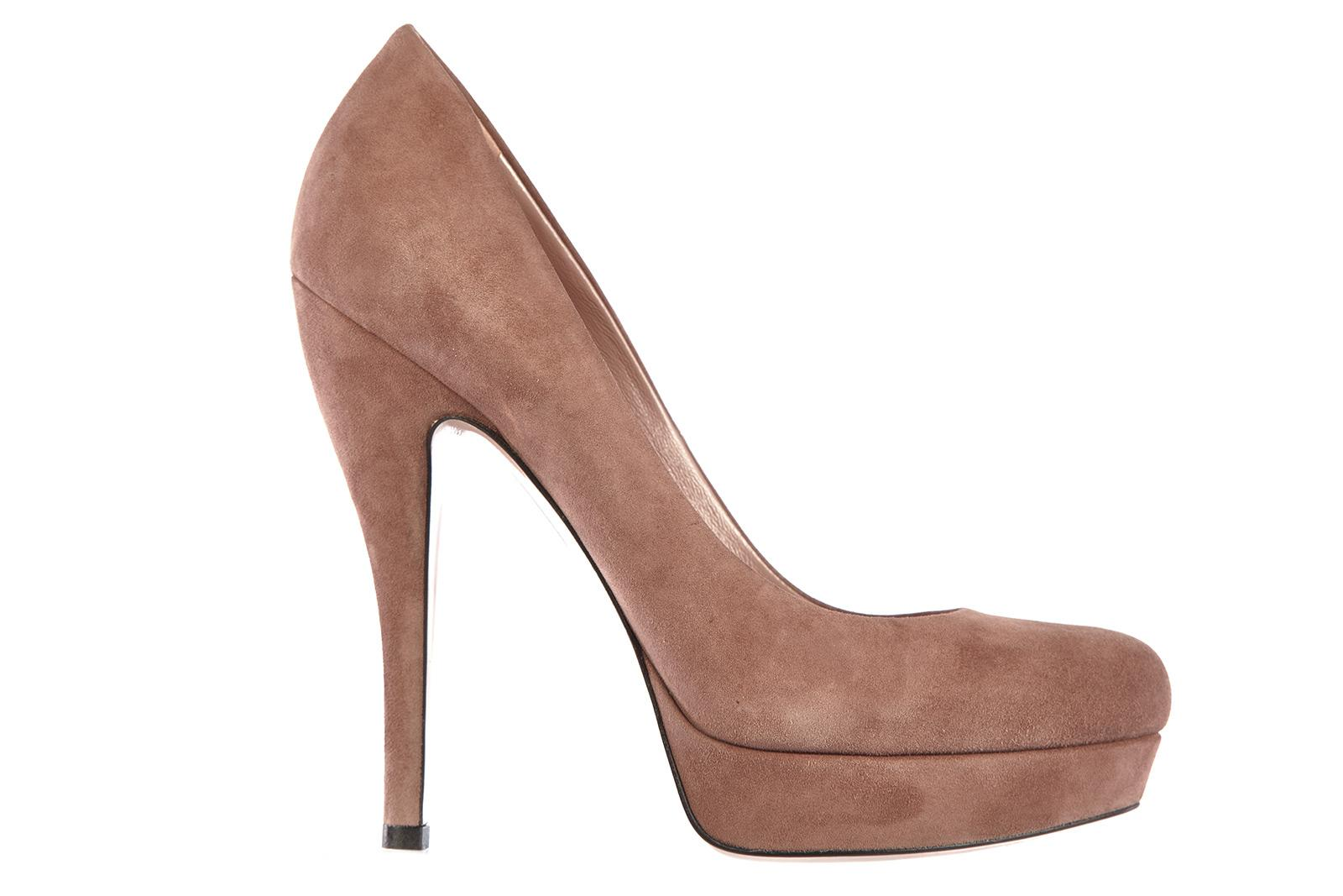Gucci Women's Suede Platform Pumps Court Shoes Heel In Beige