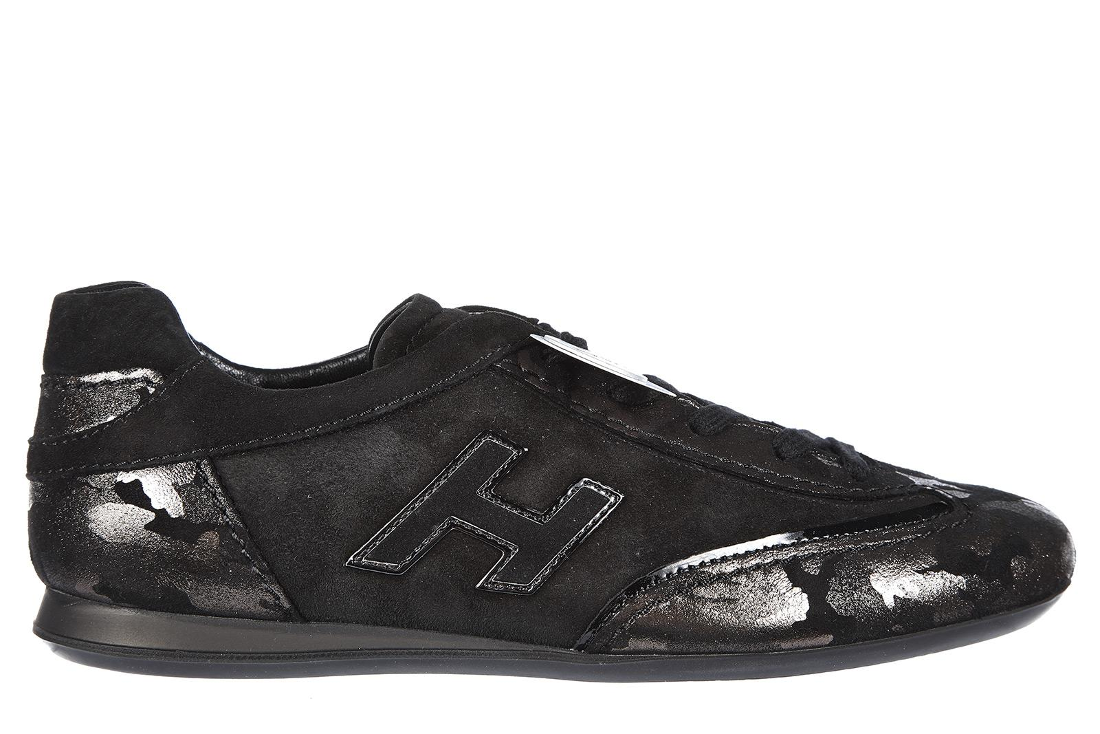 Hogan Women's Shoes Suede Trainers Sneakers Olympia H Flock In Black