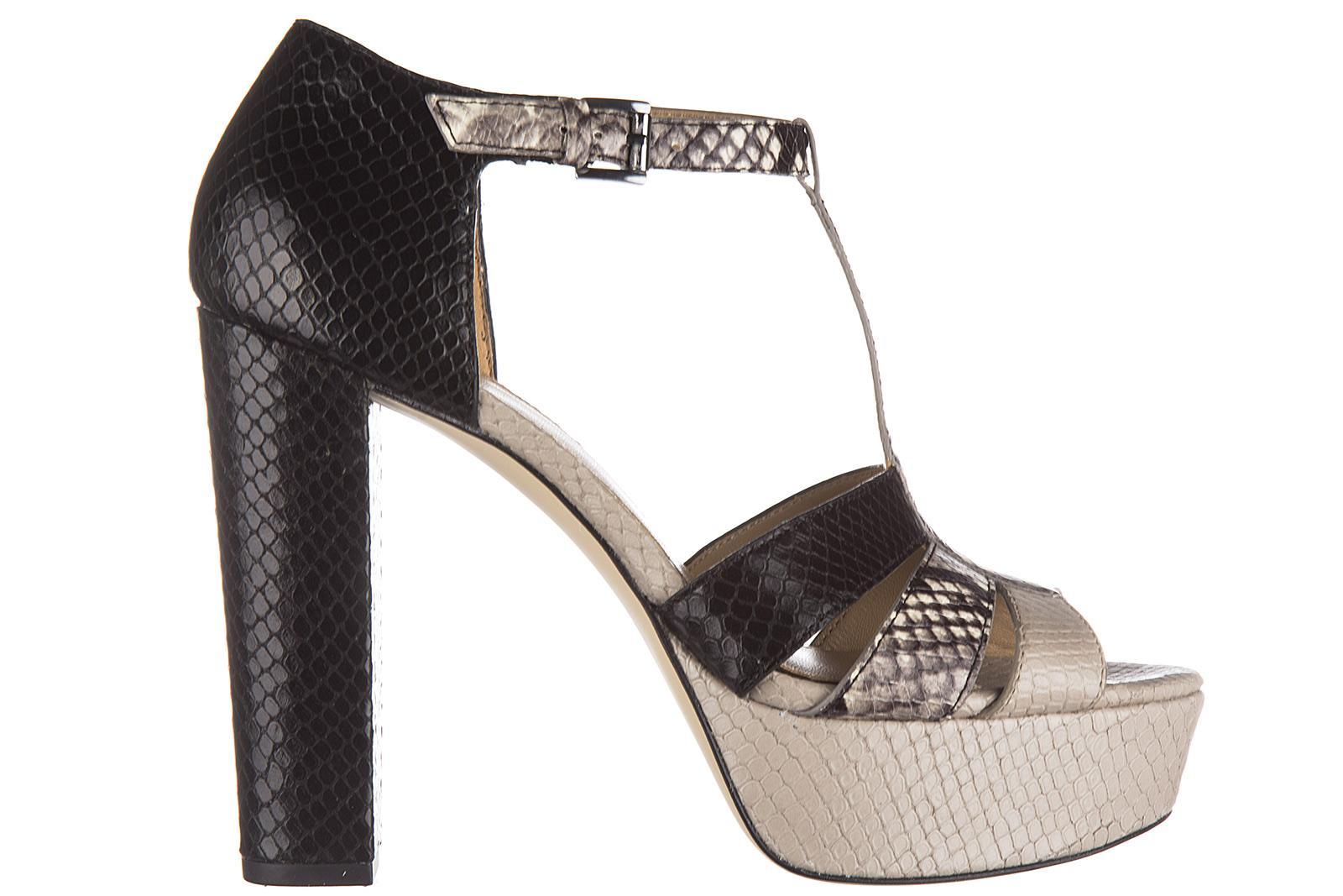 Michael Kors Women's Leather Heel Sandals Mercer In Black