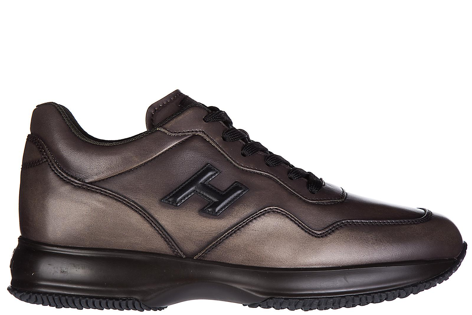 Hogan Men's Shoes Leather Trainers Sneakers Interactive H 3d In Brown