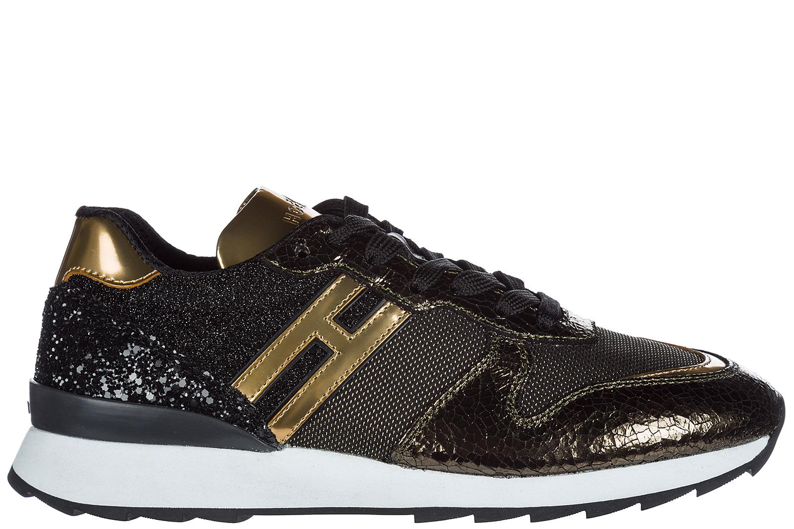 Hogan Women's Shoes Leather Trainers Sneakers R261 In Gold