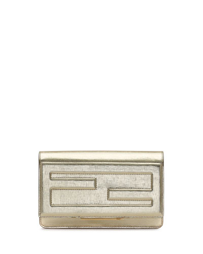 Fendi Leather Tube Wallet On A Chain, Gold